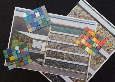 Barnat Klein photos and completed coloured mosaic panels