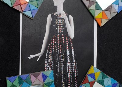 Holly Fulton tesselated dress and completed mosaic mirrors