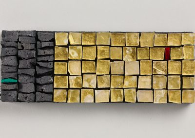 'Muro Alzavola', Gold leaf smalti, smalti, fire clay. 2011. Photo : Shannon Tofts.