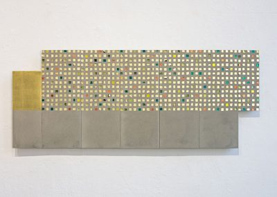 '(In)visible Cities: Muro d'Oro I', Gold leaf, gold leaf smalti, Jesmonite, pigment.40x100x3cm. 2016.