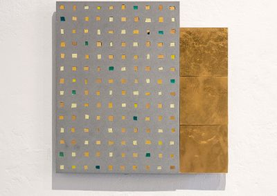 '(In)visible Cities: Muro d'Oro II', Gold leaf, gold leaf smalti, Jesmonite, pigment. 28x28x3cm. 2016.