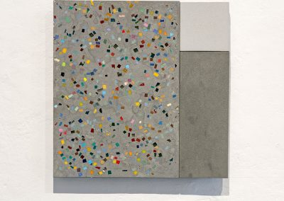 '(In)visible Cities: Pavimento II', Smalti, gold leaf smalti, porcelain, Jesmonite, pigment. 28x28x3cm. 2016.