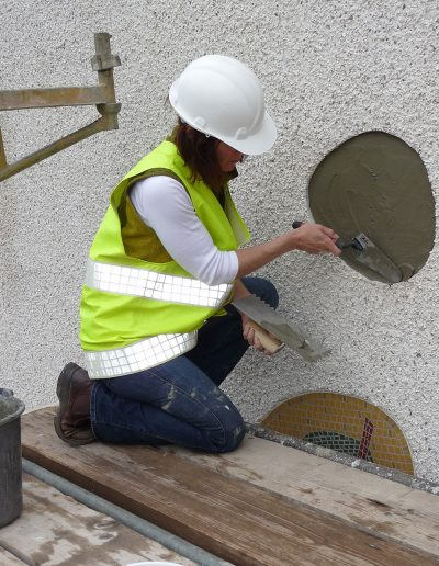 Macmillan, installing mosaics