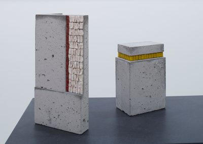Sculptural Objects Concrete. Venetian gold leaf glass mosaic, smalti, marble varying dimensions. Photo: Sylvain Deleau.