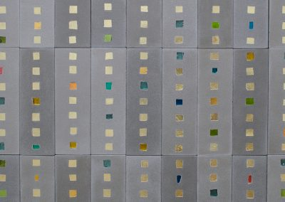 (In)visible Cities Alba (detail). Venetian gold leaf glass mosaic, Jesmonite, pigment 1.8x1.5m. Photo: Sylvain Deleau.