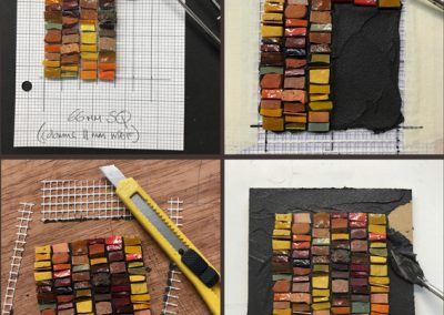 Stick your mosaic onto mesh substrate and board